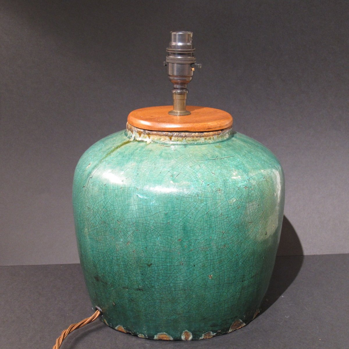 Lamp Base Made From 90 120 Yrs Old Green Glazed Ginger Jar