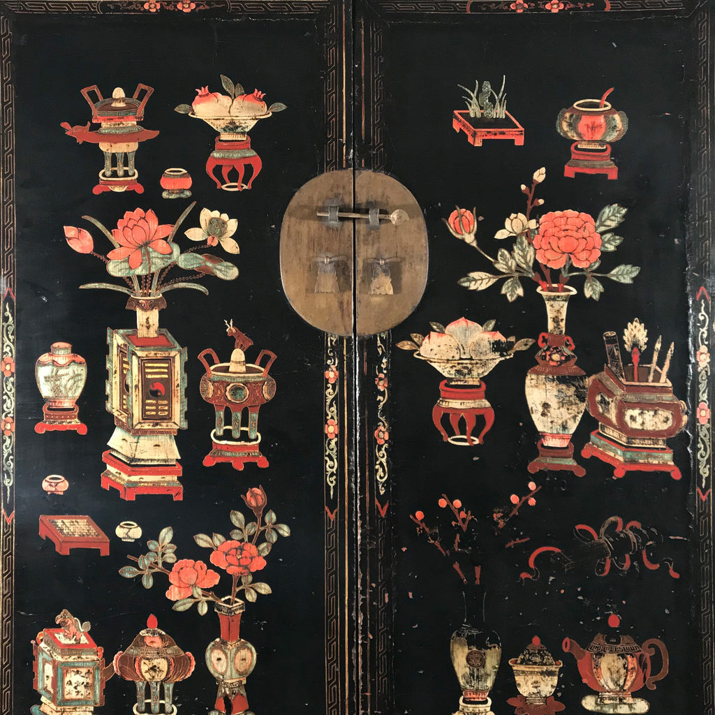 Antique Black Lacquer Wedding Cabinet From Shanxi - 19thC