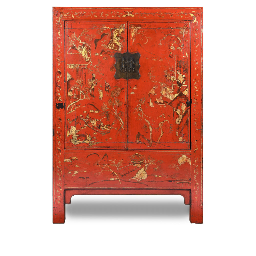 Antique Red Lacquer Wedding Cabinet from China - 19thC