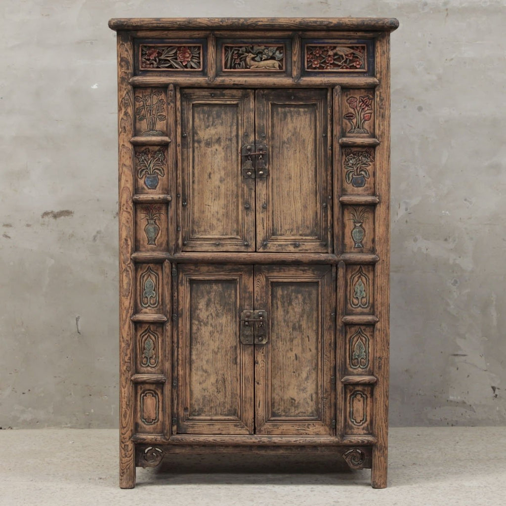 Carved Chinese Storage Cabinet from Gansu - 19thC