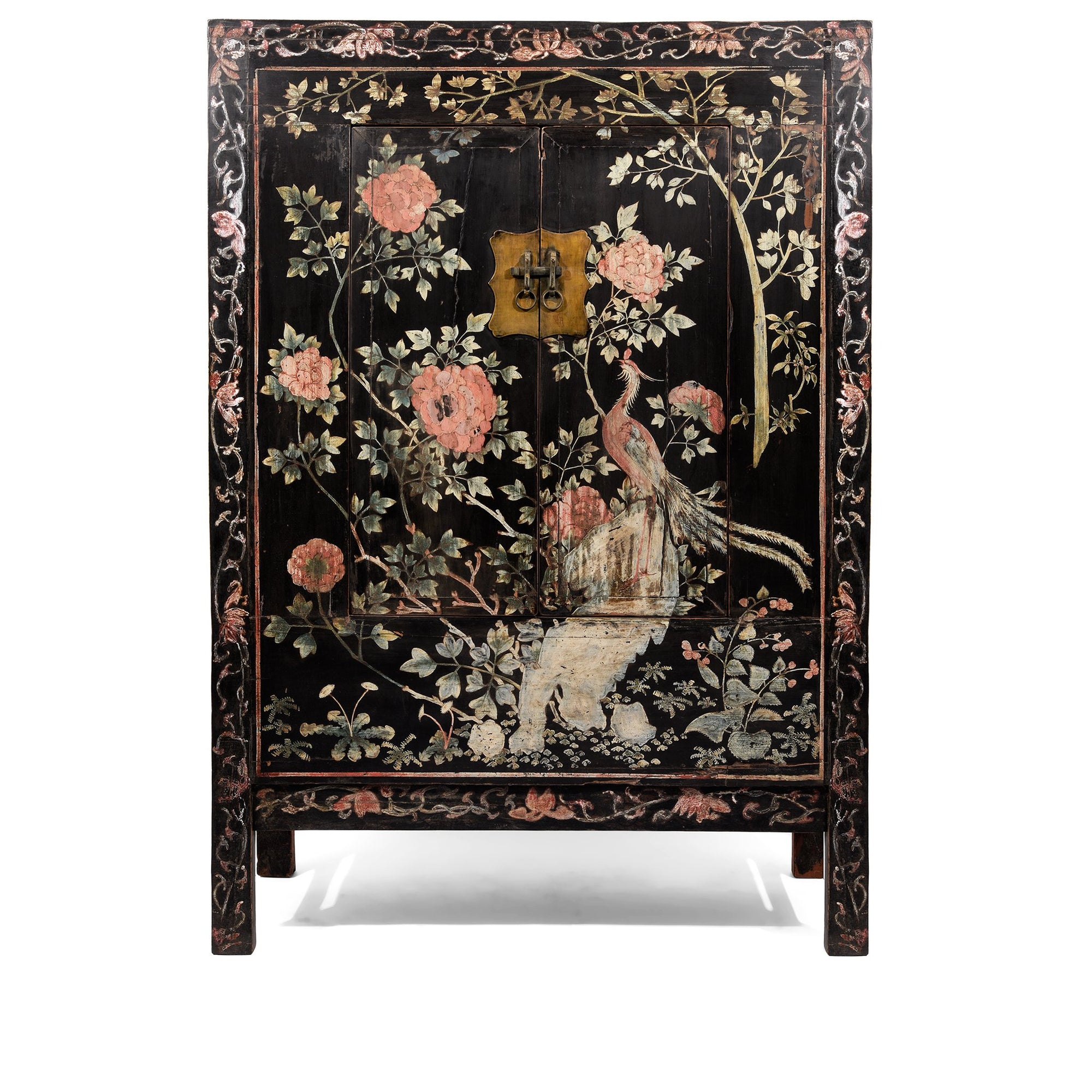 Chinese Black Lacquer Wedding Cabinet with original phoenix painting on-  19thC | Indigo Antiques