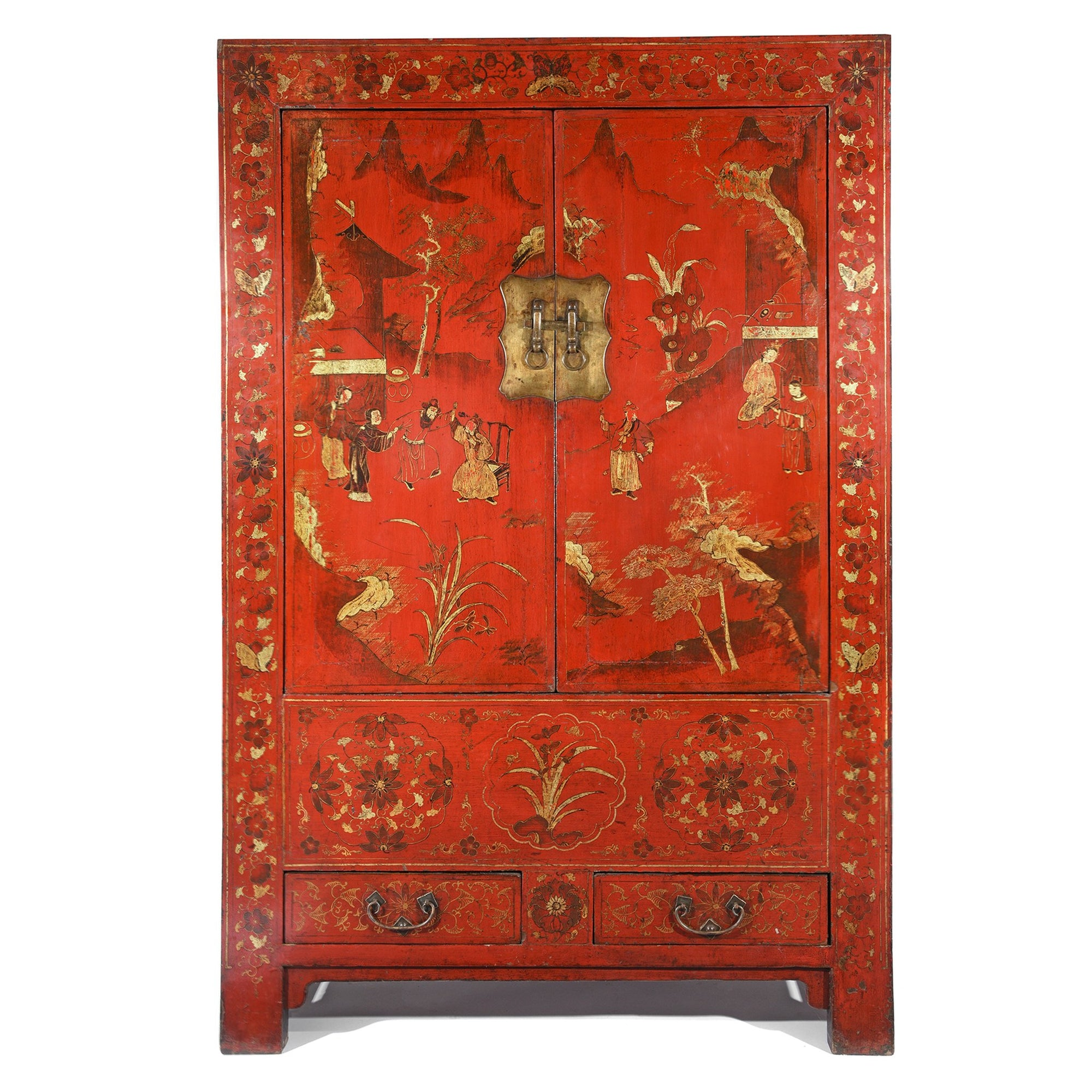 Chinese Red Lacquer Wedding Cabinet from Shanxi- 19thC |Indigo Antiques