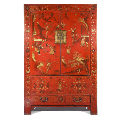 Chinese Red Lacquer Wedding Cabinet from Shanxi- 19thC