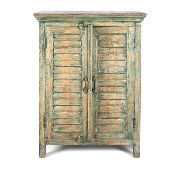 Painted Louvre Cabinet Made From Reclaimed Teak