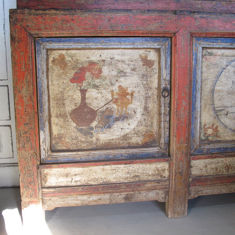 Painted Tibetan Cabinet from 19th century Qinghai