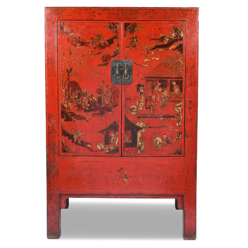 Red Lacquer Wedding Cabinet - 19thC