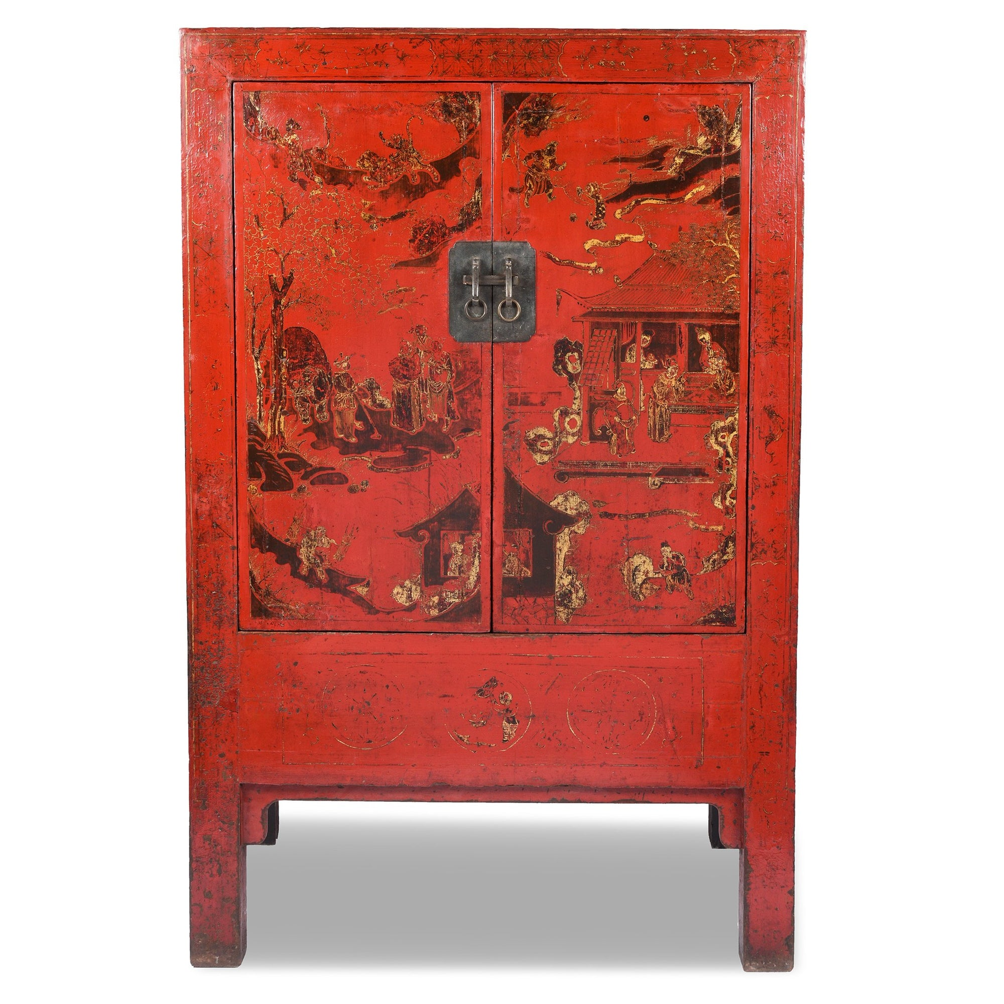 Red Lacquer Wedding Cabinet - 19thC | Indigo Antiques