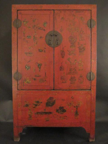 Red Lacquer Wedding Cabinet From Shanxi Province - 19thC