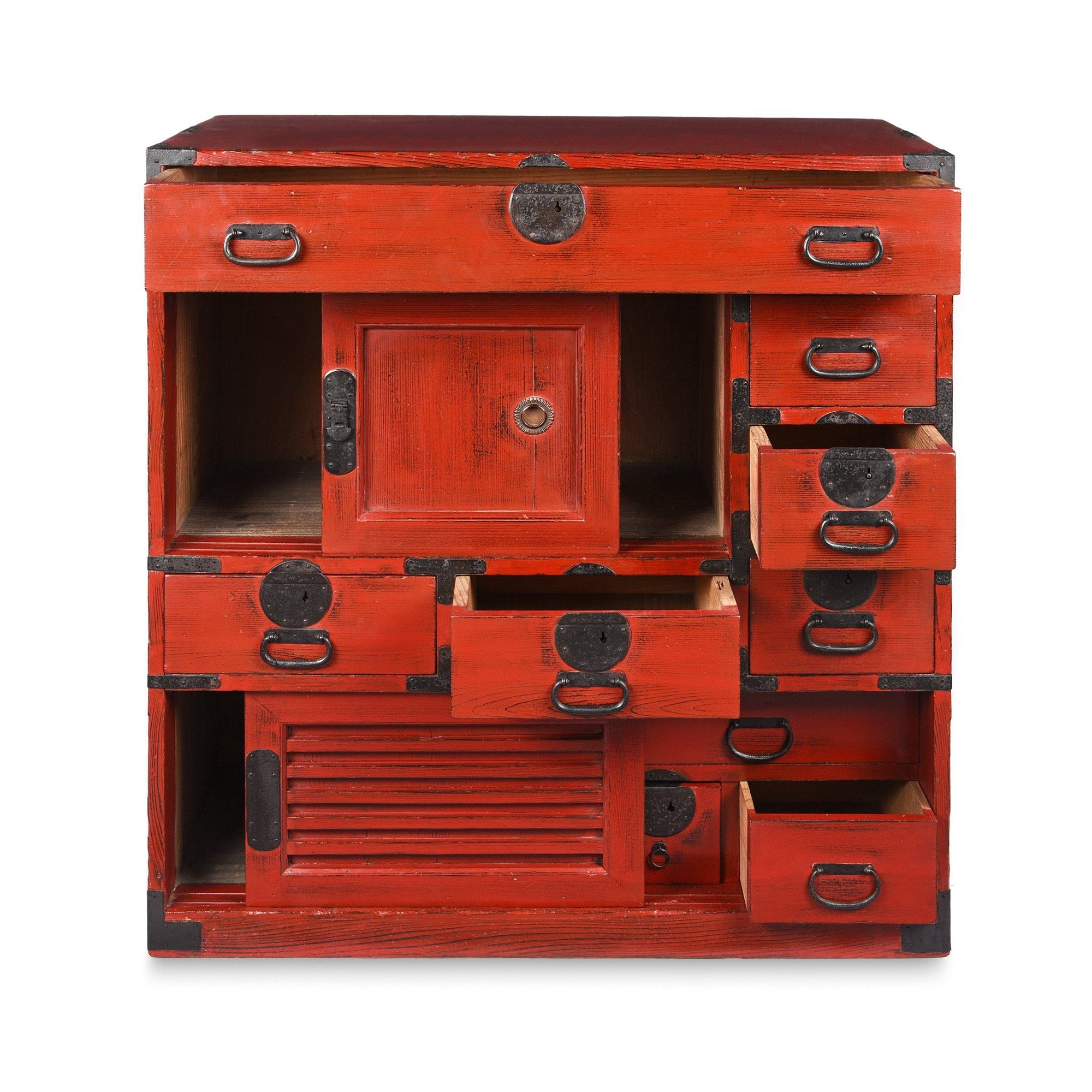 Red Painted Japanese Choba Dansu Tansu Chest - Taishō Period | Indigo Antiques