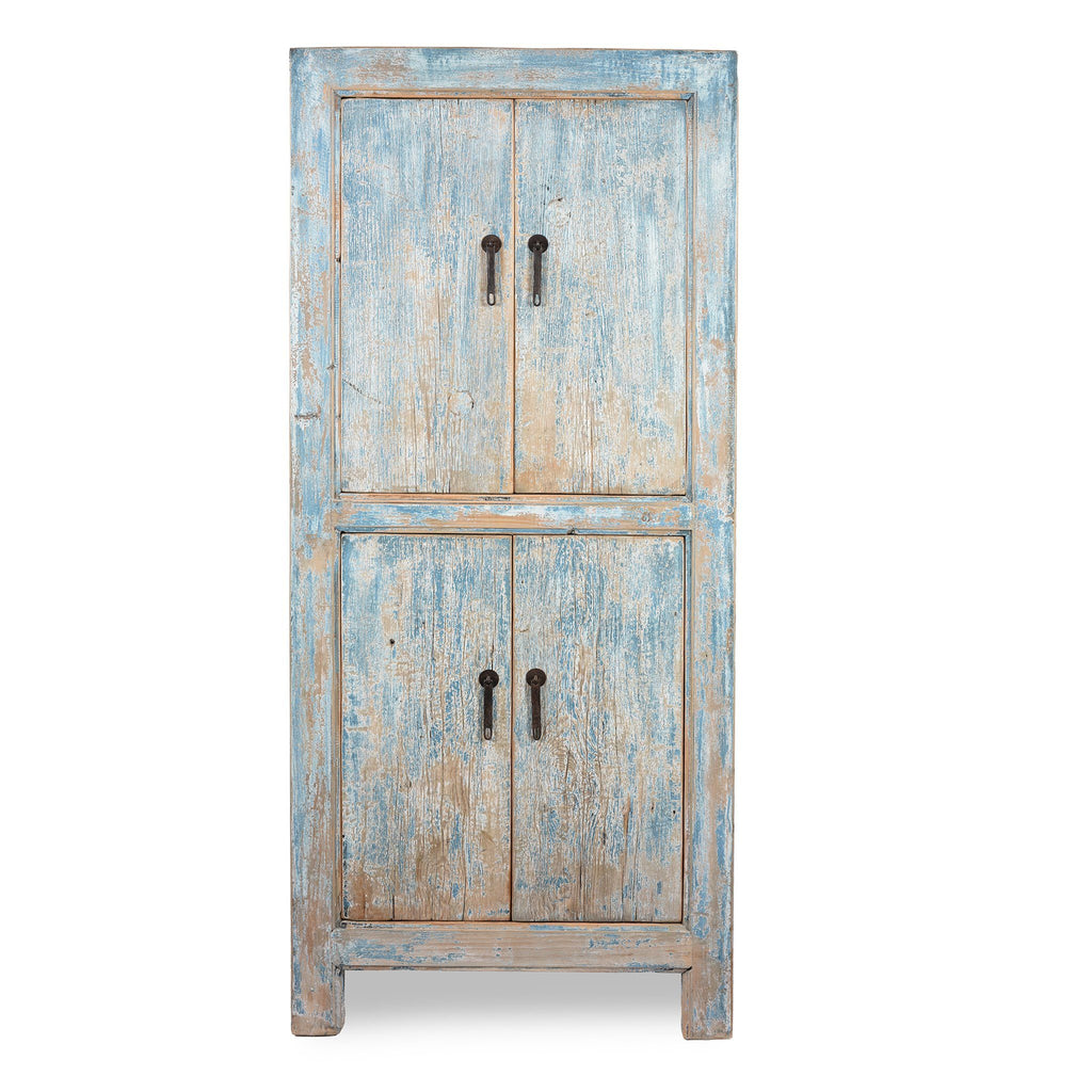 Tall Blue Cabinet Made From Old Painted Pine