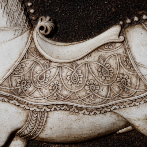 Hand Carved Marble Mughal Horse Panel From Rajasthan