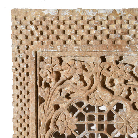 Indian Stone Jali Panel From Jaiselmer - 19thC