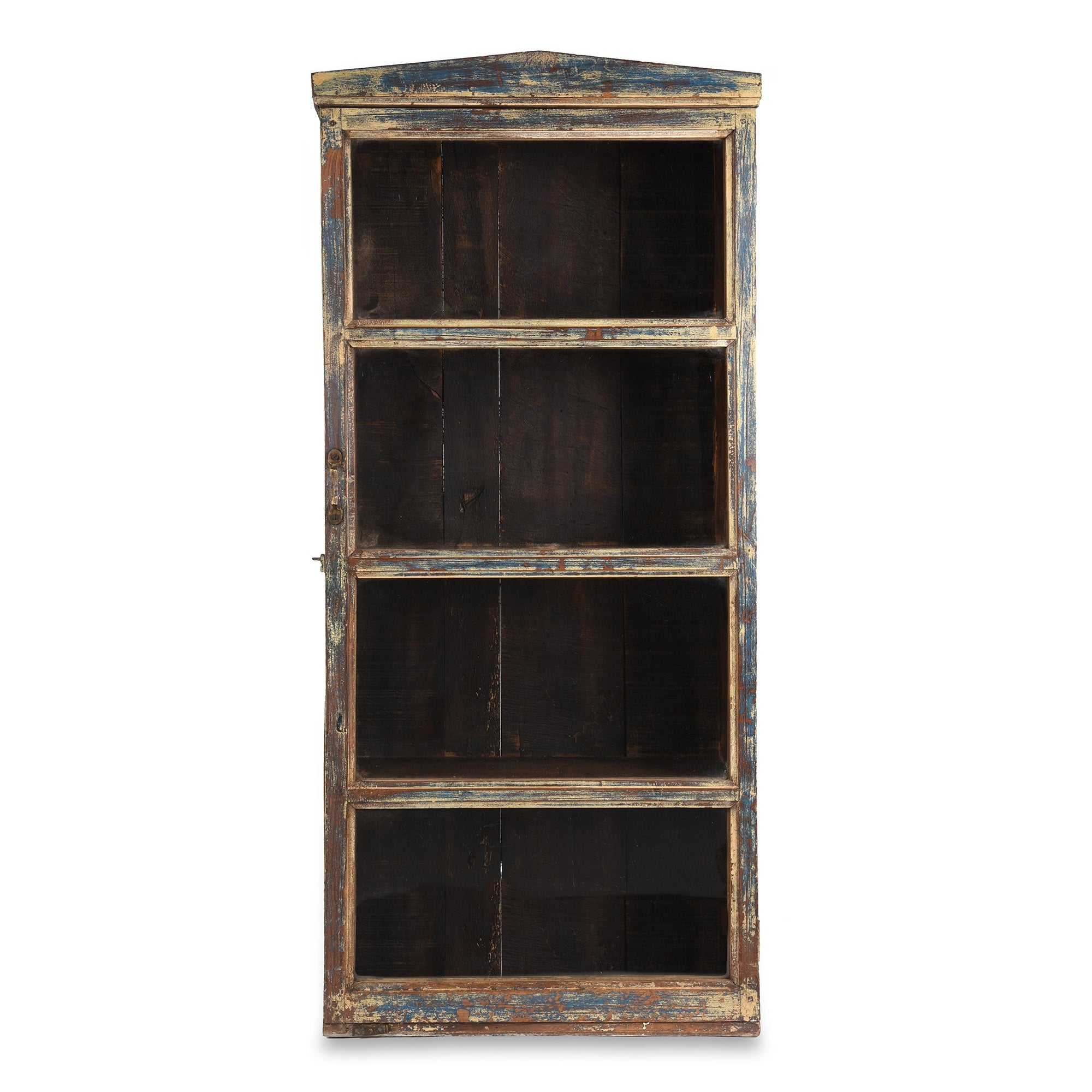 Painted Teak Glazed Wall Cabinet - Ca 1930 | Indigo Antiques