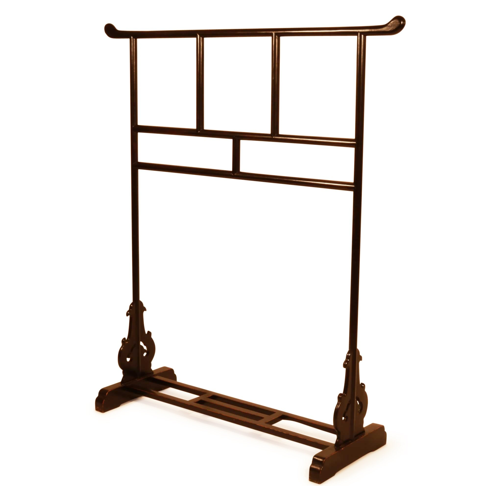 Chinese Clothes Rail -  Black Lacquered Finish | Indigo Oriental Antiques