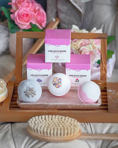 We offer three types of Hemp bath bombs for sale in lavender, vanilla cupcake and pink rose.