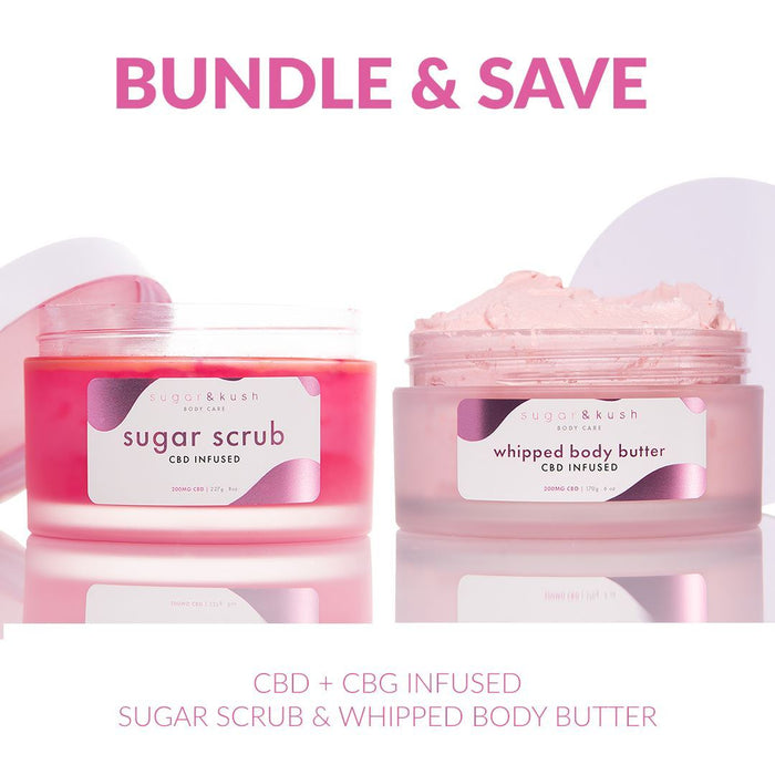 CBD + CBG infused Sugar Scrub & Whipped Body Butter beauty sugar & kush