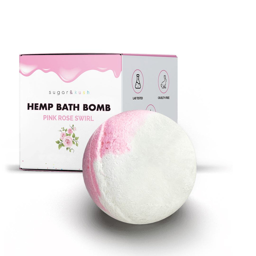 Pink Rose Swirl Hemp Bath Bomb sugar & kush