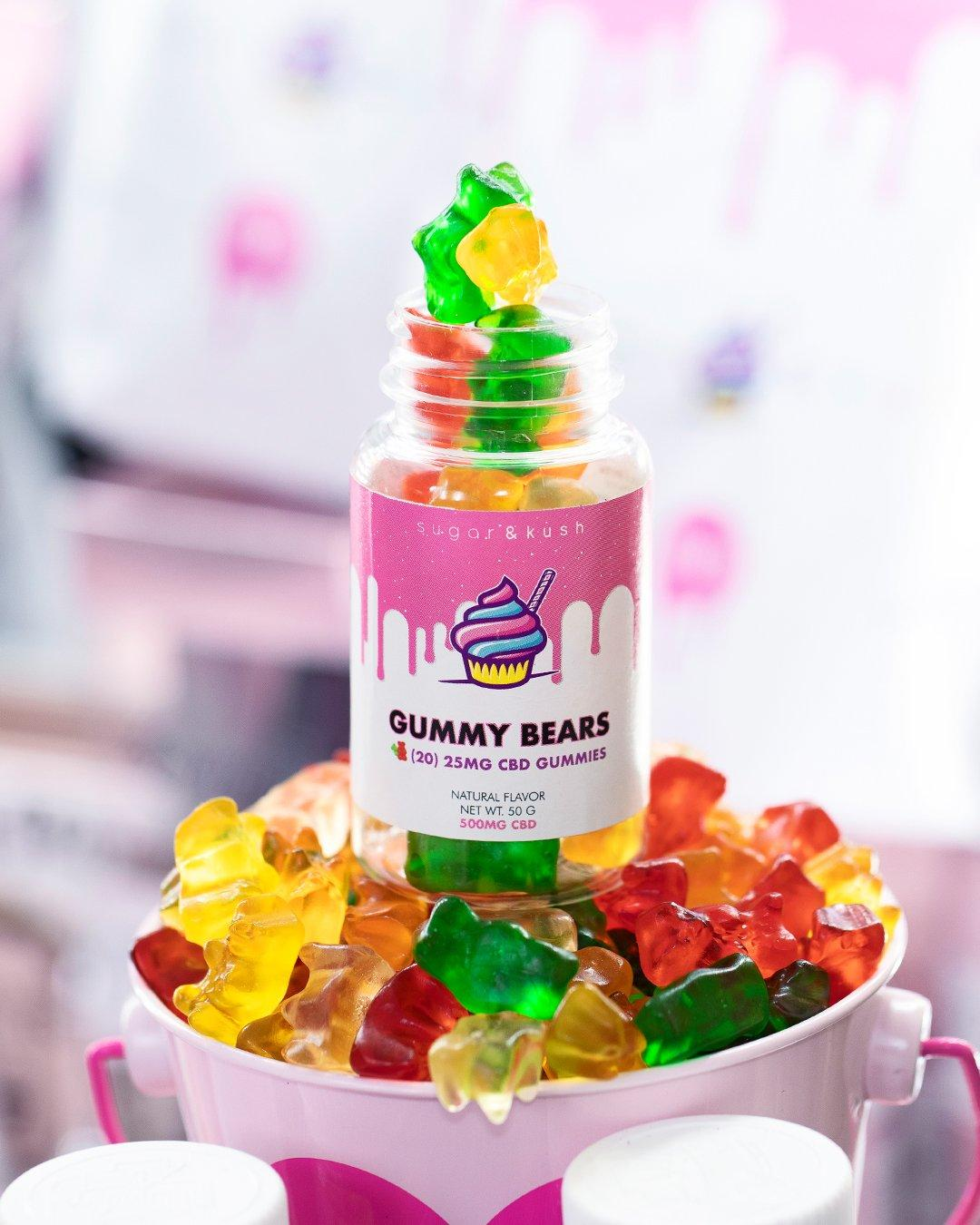 Colorful gummy bears infused with CBD from Sugar and Kush.