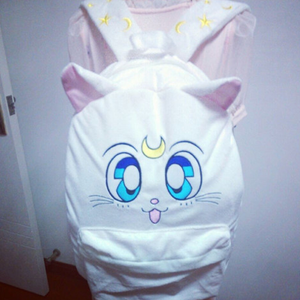 Kawaii Embroided Sailormoon White Luna Cat Backpacks