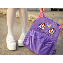 Load image into Gallery viewer, Kawaii Embroided Sailormoon Purple Luna Cat Backpacks