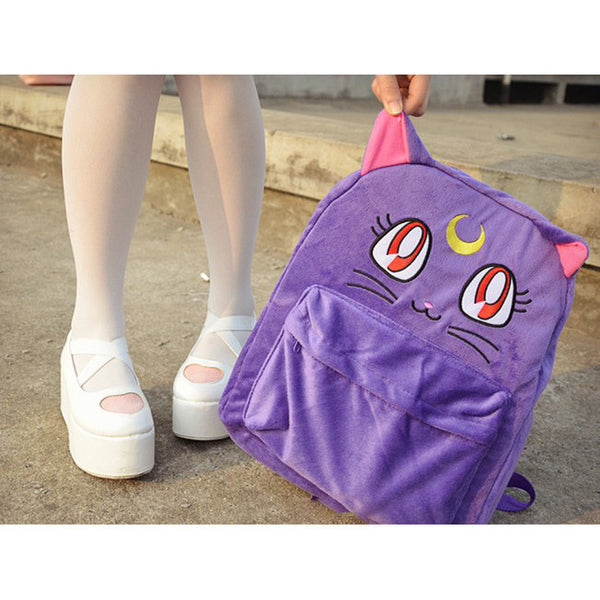 Kawaii Embroided Sailormoon Purple Luna Cat Backpacks