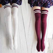 Load image into Gallery viewer, Harajuku Preppy Stripped Over Knee Socks