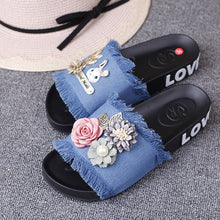 Load image into Gallery viewer, Seaside beach hand - banded flowers flat - bottomed slippers fabric soft bottom tassel flat with anti - slipper