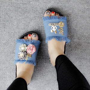 Seaside beach hand - banded flowers flat - bottomed slippers fabric soft bottom tassel flat with anti - slipper
