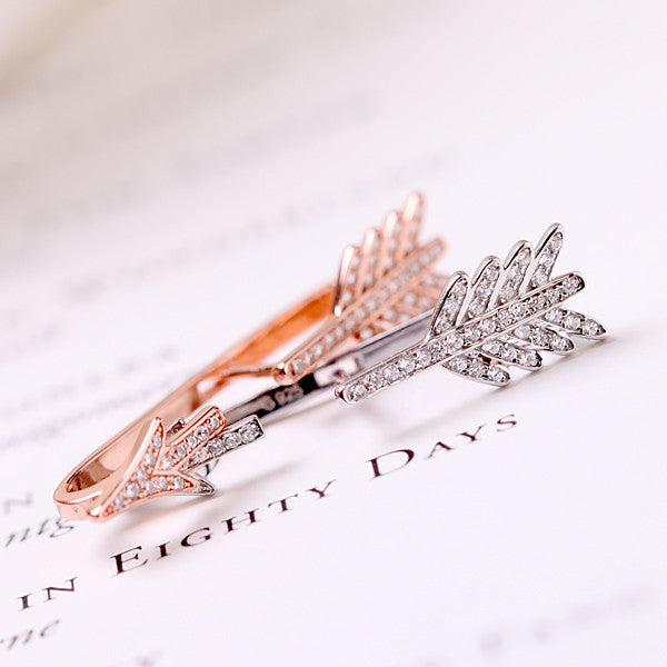 925 Silver Unique Rhinestone Arrow Earrings