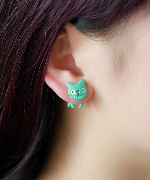 Unique Kawaii Two-part Funny Face Cat Earrings