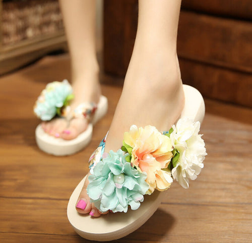 Handmade DIY flower beach slippers