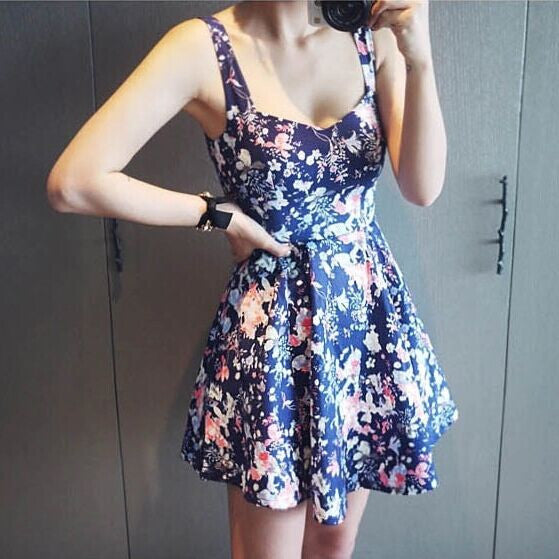 Vintage High-waisted Backless Floral Tank Dress