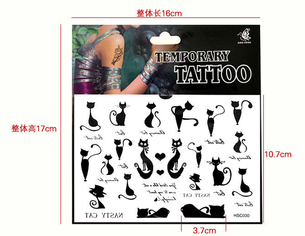 Fashion Lovely Tatoo Sticker Cat/Sun/Stars/Heart/Wings/Letters Waterproof Tattoos Paste