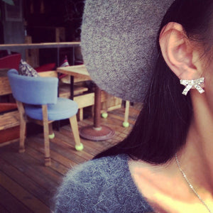 Luxurious Zicron Bow Stud Earrings
