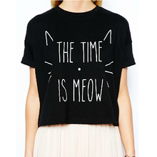 Load image into Gallery viewer, The Time is Meow Cat T-shirt