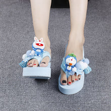 Load image into Gallery viewer, Handmade Flower Pearl Slope Platform Summer Shoes Women slipper
