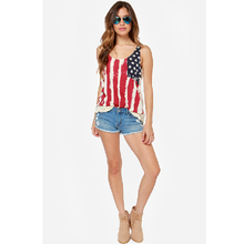 Load image into Gallery viewer, American Flag Chiffon Tank Top