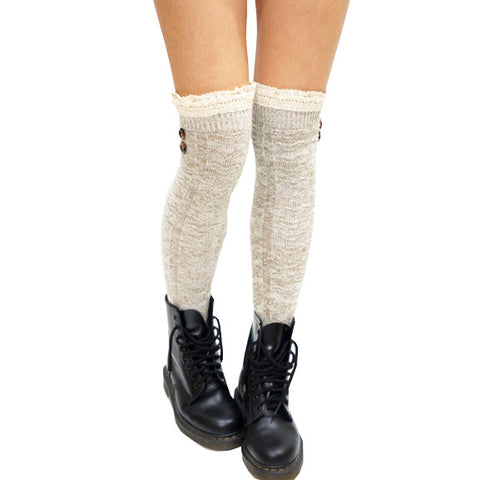 Buttons Lace Over Knee Socks