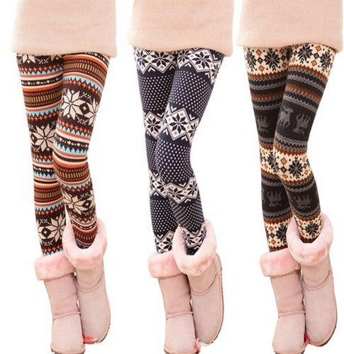 fashion stripe snowflake leggings