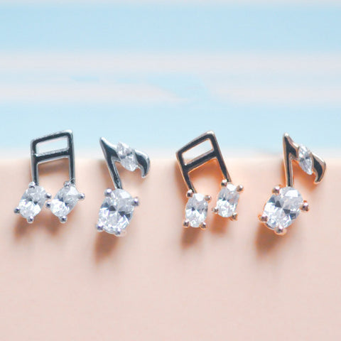 Sweet 925 Silver Musical Notes Stud Earrings