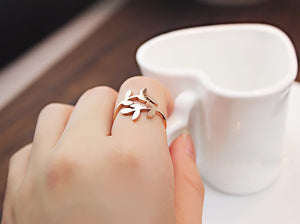 18K the color gold love leaves openings titanium steel ring