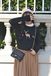 Christmas Reindeer Inwrought Knitted Sweater Pullover