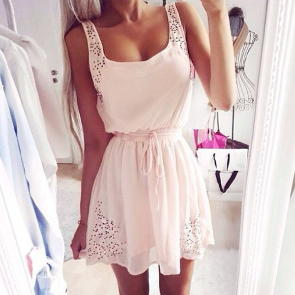 Sweet Hollowed Lace-up Strap Dress