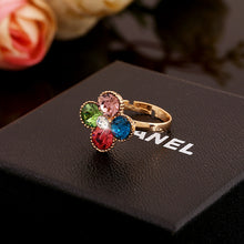 Load image into Gallery viewer, Color Crystal Ring Europe and the United States fashion OL diamond four-leaf flower ring simple opening girls hand jewelry