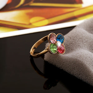 Color Crystal Ring Europe and the United States fashion OL diamond four-leaf flower ring simple opening girls hand jewelry