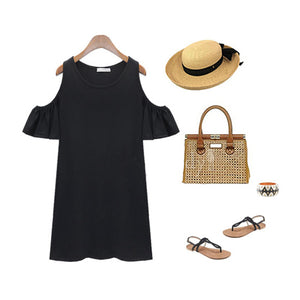 Flounced Butterfly Sleeve Strap Dress