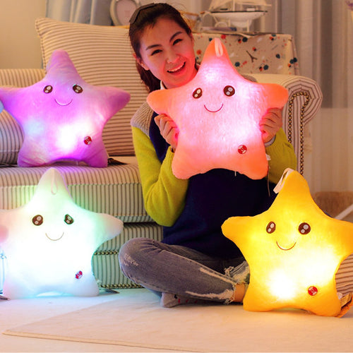 40*40cm Stuffed Dolls LED Stars Light Colorful Pillows Popular Plush Toys for Kids