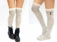 Load image into Gallery viewer, Buttons Lace Over Knee Socks