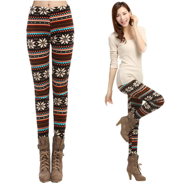 Christmas Winter Warm Snowflake Reindeer Print Fleece Leggings