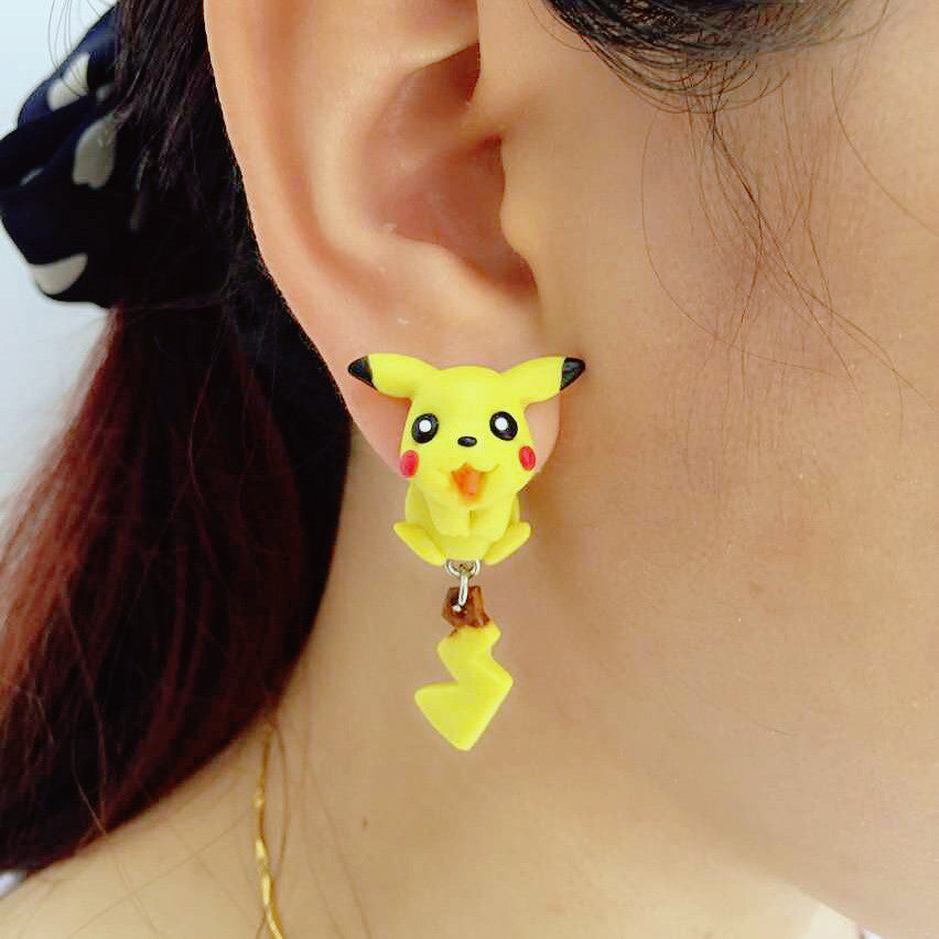 Handmade Polymer Pikachu Two-part Earrings